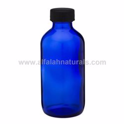 Picture of Boston Round 4 oz Cobalt Blue Glass Bottles With Poly Cone Lined Black Caps