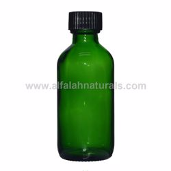 Picture of Boston Round 2 oz Green Glass Bottles With Poly Cone Lined Black Caps