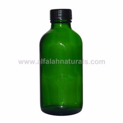 Picture of Boston Round 4 oz Green Glass Bottles With Poly Cone Lined Black Caps