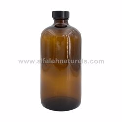 Picture of Boston Round 16 oz Amber Glass Bottles With Poly Cone Lined Black Caps